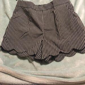 Striped scalloped shorts